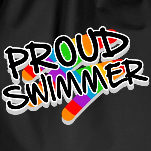 Proud Swimmer - rainbow flag and colors - Turnbeutel