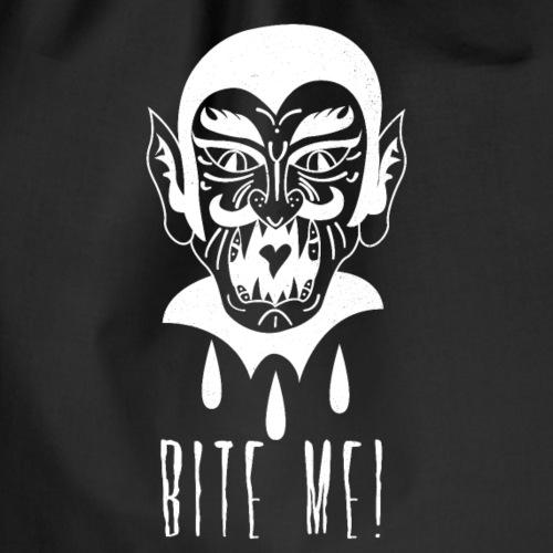 Lustiger Comic Vampir mit frechem Spruch Bite Me - Turnbeutel