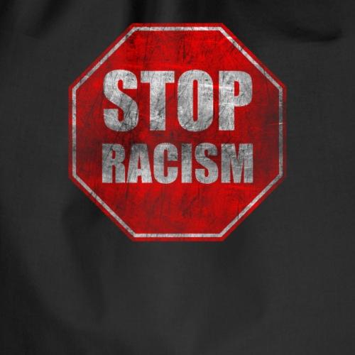 Stop Racism Stopschild im Vintagelook gegen Rassis - Turnbeutel