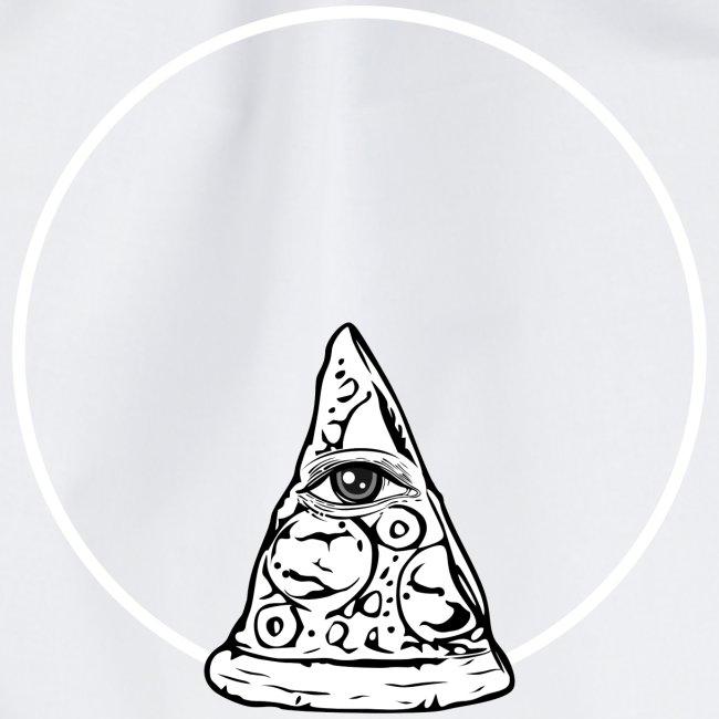 All sehendes Auge Pizza (weißer Druck)