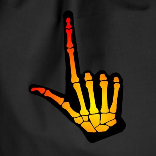 HALLOWEEN bokstav L i gulrød skjelett + svart hånd - Gymbag