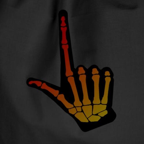 HALLOWEEN bokstav L i dempet skjelett + svart hånd - Gymbag