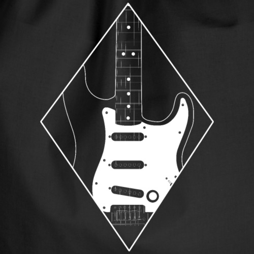 Electric guitar minimalist rhombic guitarist - Drawstring Bag