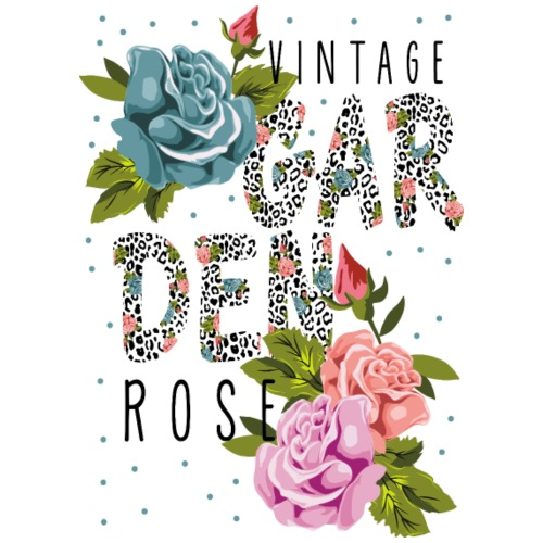 vintage garden rose - Drawstring Bag