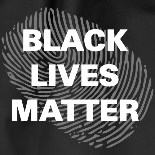 black lives matter fingerprint weiß - Turnbeutel