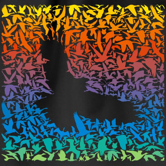 Abstract rainbow predator bird and its prey