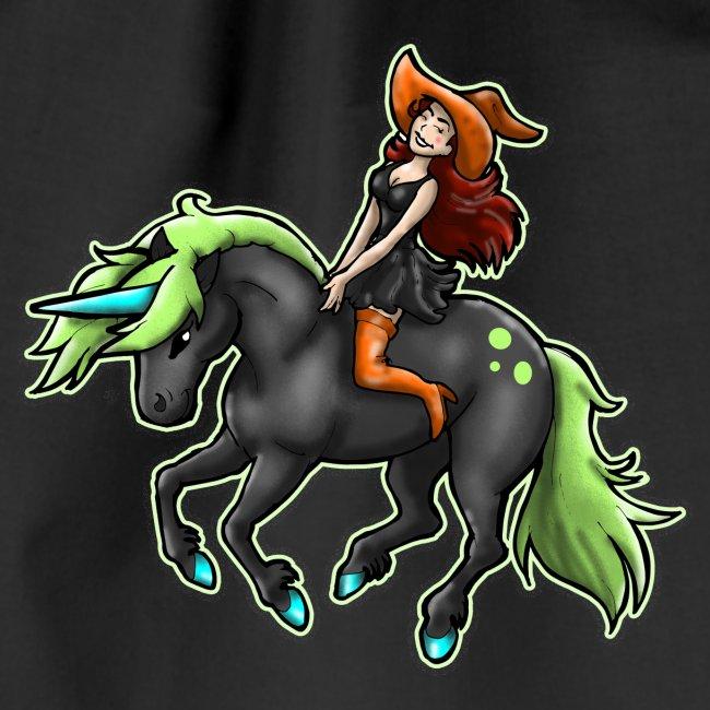 Monter une sorcière sexy sur une licorne.