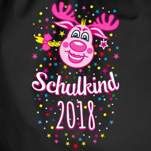 08 Schulkind 2018 Hirsch Rudi Pink Mädchen Glitzer - Turnbeutel