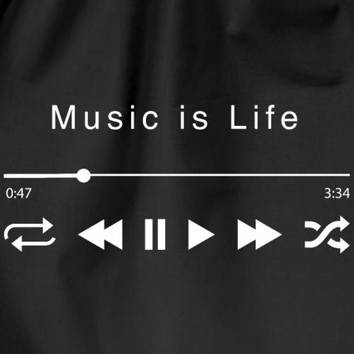 Music is Life Guitar Bass Drums vocals - Drawstring Bag