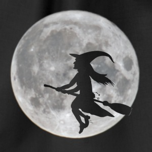 Flying witch in front of moon - Drawstring Bag