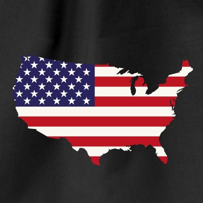 La Cartina Degli Stati Uniti D America.Stati Uniti Damerica Mappa Con Bandiera Commercio Americano Sacca Sportiva Graphikz