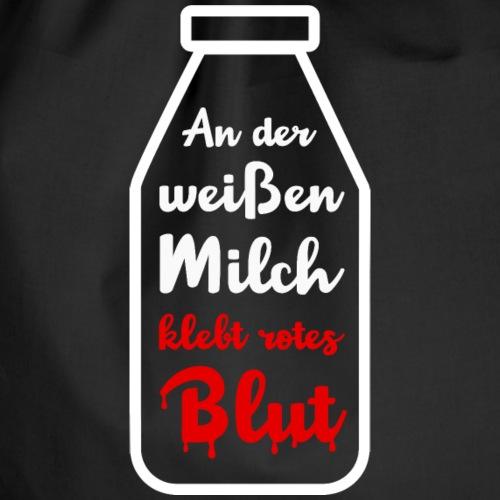 Blutmilch - An der weißen Milch klebt rotes Blut - Turnbeutel