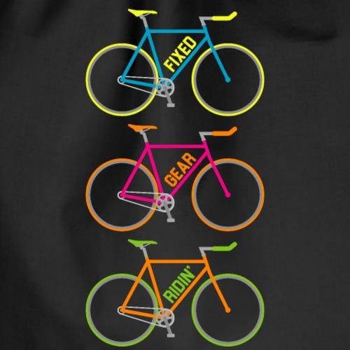 Fixed Gear Ridin' Multicolour Cycling T-Shirt - Drawstring Bag