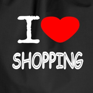 I LOVE SHOPPING - Drawstring Bag