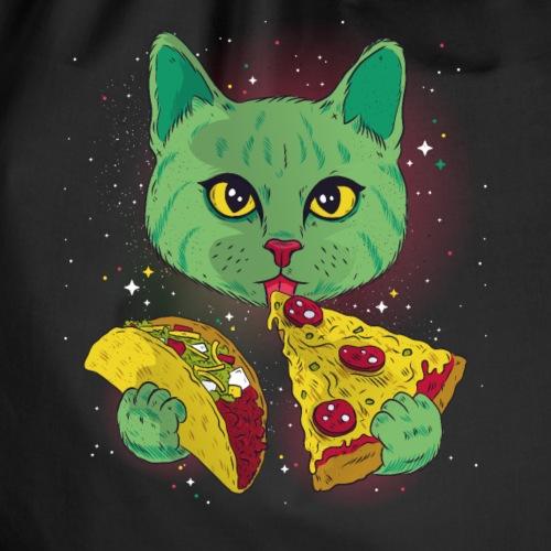 Taccocat Katze Weltraum Tacco Pizza Stück süß - Turnbeutel