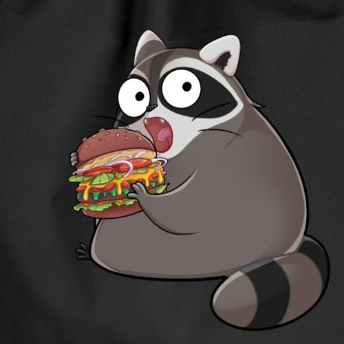 knuddeliger Waschbär isst leckeren Burger - Turnbeutel