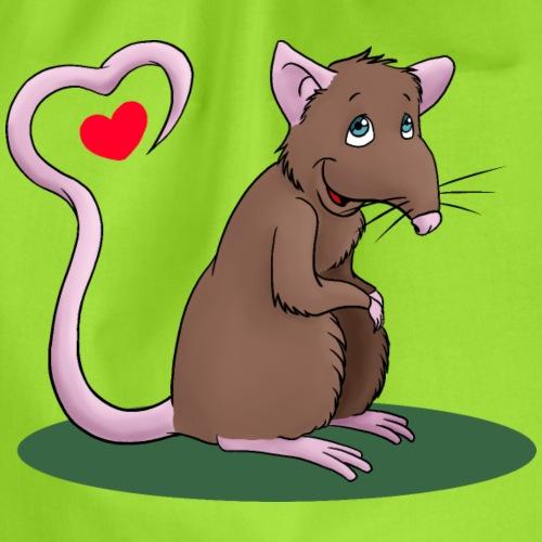 Ratte mit Herz - Turnbeutel