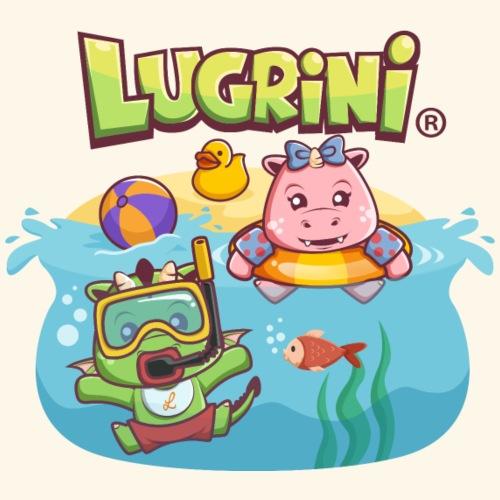 Lugrini & Lugrina schwimmen im Meer - Turnbeutel