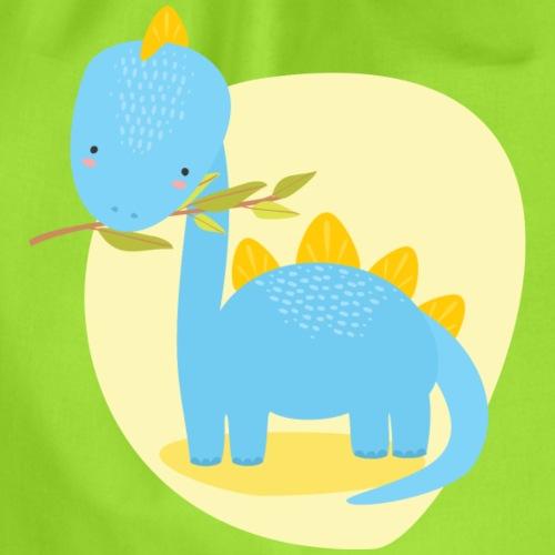 Stegosaurus Baby blau frisst Blätter - Turnbeutel