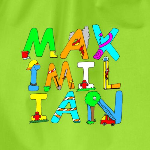 Maximilian Name in coolen Feuerwehrbuchstaben - Turnbeutel
