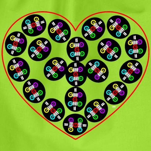 Großes Herz, Herz, Herz gemustert, Liebesherz groß - Turnbeutel