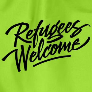 refugees welcome - Drawstring Bag