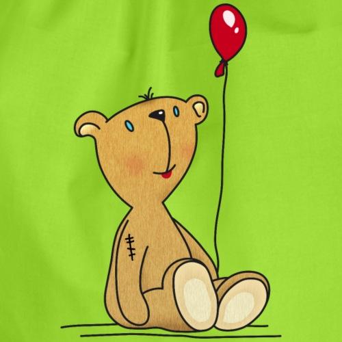 Teddybär mit rotem Luftballon Kuscheltier Kinder - Drawstring Bag