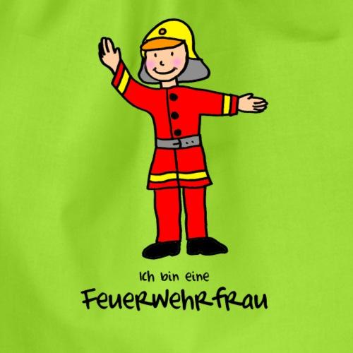 Kleine Feuerwehrfrau mit roter Uniform - Turnbeutel