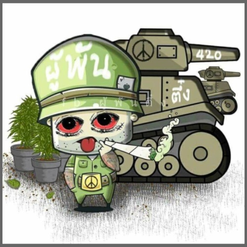 Kiffender Soldat inkl. Panzer Motiv - Turnbeutel