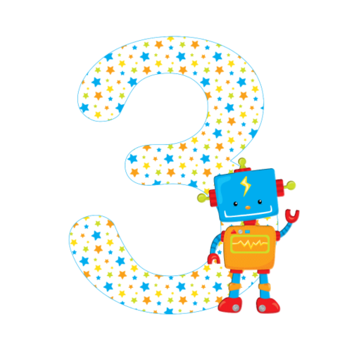 Geburtstagszahl 3 Roboter - Turnbeutel
