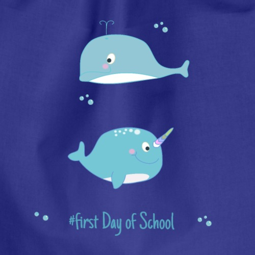 narwal and dolphine - first day of School - Sac de sport léger