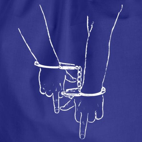 Zwei MittelFinger in Handschellen weiss fu 2 - Turnbeutel