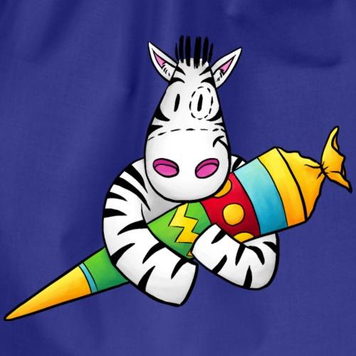 Zebra mit Zuckertüte - Turnbeutel
