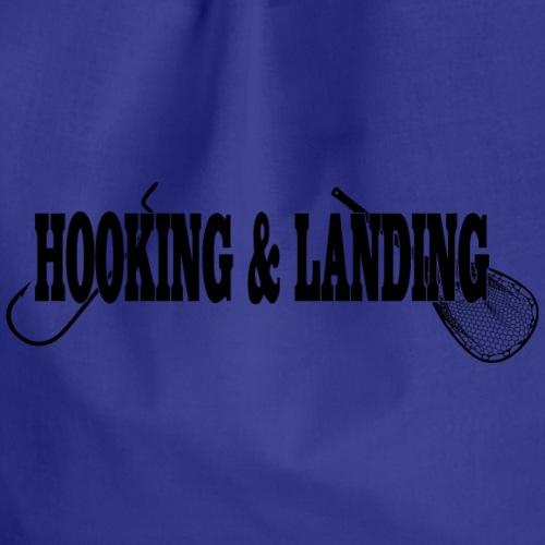 hooking and landing black - Drawstring Bag
