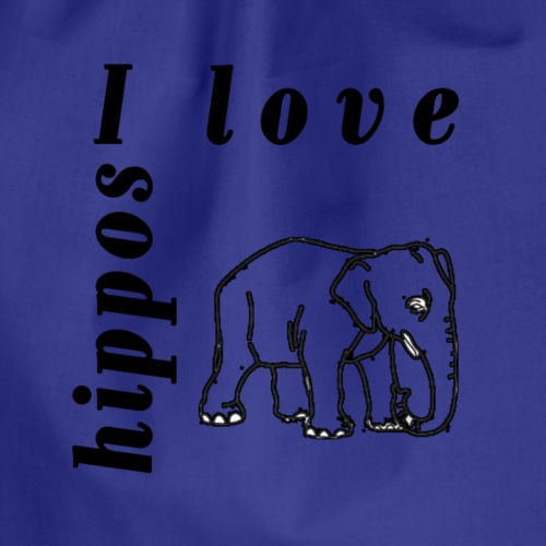 I Love Hippos - Drawstring Bag