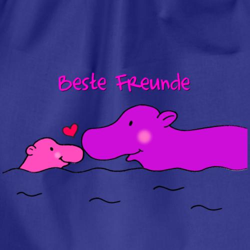 Beste Freunde - liebevolles Motiv mit Nilpferd - Turnbeutel