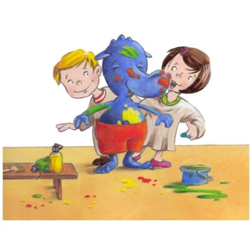 Drache Siggi malt mit den Kindern im Atelier - Turnbeutel