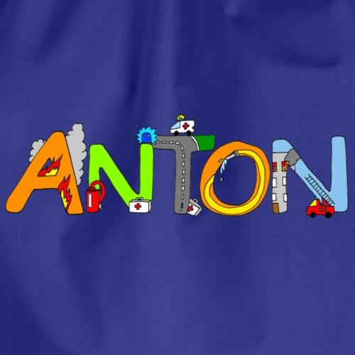 Anton Name in liebevollen Feuerwehr Buchstaben - Turnbeutel