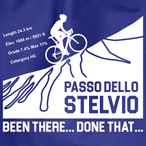Passo Dello Stelvio Cycling Design - White - Drawstring Bag
