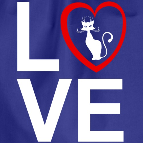 I Love My Cat - Drawstring Bag