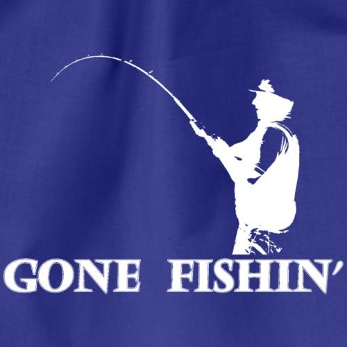 gonefishin - white desing of fisherman - Drawstring Bag