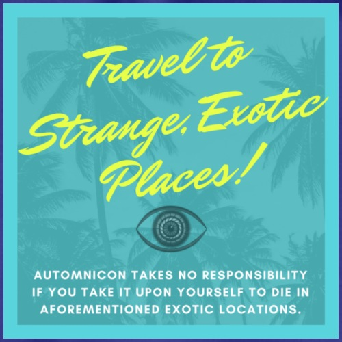 Automnicon. Travel to strange, exotic places! - Drawstring Bag