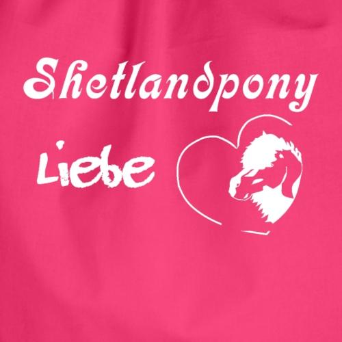 Shetlandpony Liebe in weiss - Turnbeutel