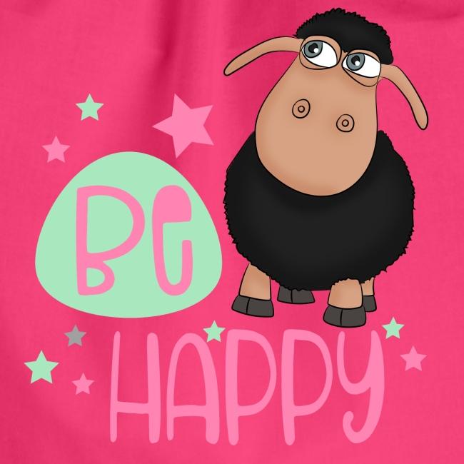 Schwarzes Schaf - be happy Schaf Glückliches Schaf