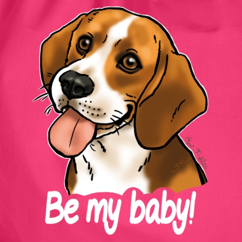 "Chien beagle ""Be my baby"" (texte blanc)"