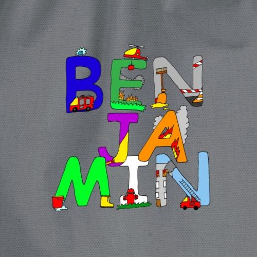 Benjamin Name in coolen Feuerwehr Buchstaben - Turnbeutel