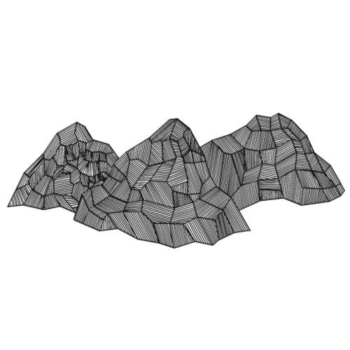 3 Berge Abstrakt Schwarz - Turnbeutel