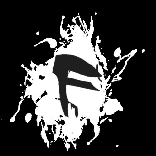 F Logo in Schwarz mit Farbklecks - Turnbeutel