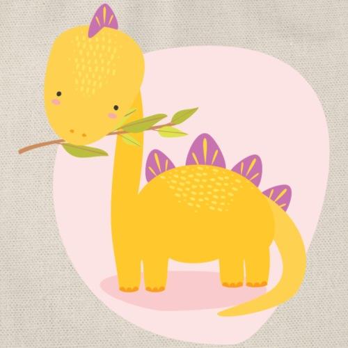 Stegosaurus Baby gelb auf rosa Hintergrund - Turnbeutel