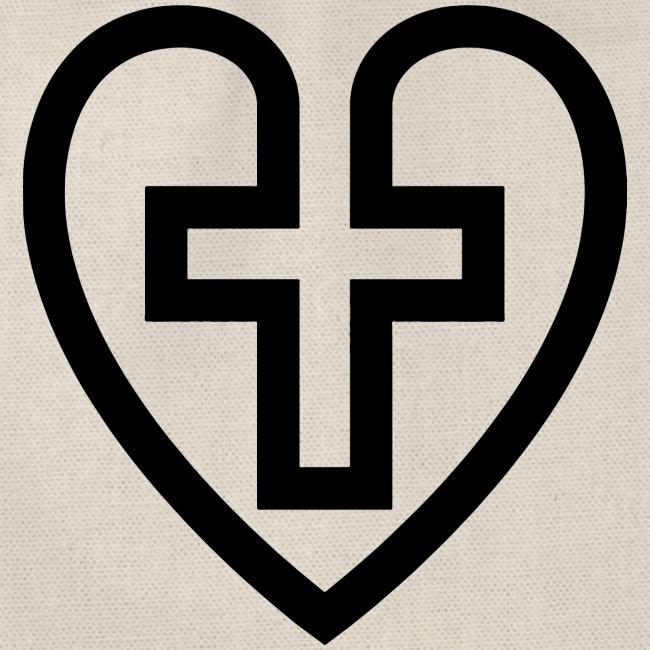 Symboliskt kristet kors i ett hjärta